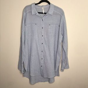 Free People Love Her Madly puckered check top sz L